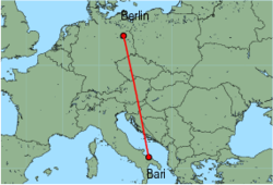Map of route from Berlin (Tegel) to Bari