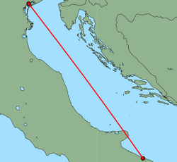 Map of route from Venice (Marco Polo) to Bari