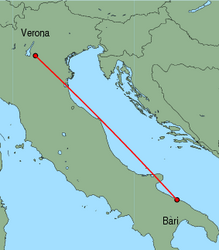 Map of route from Verona (Villafranca) to Bari