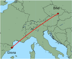 Map of route from Girona to Brno
