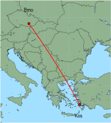 Map of route from Brno to Kos