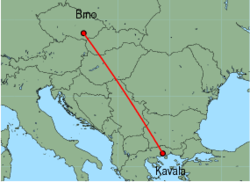 Map of route from Brno to Kavala