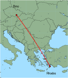 Map of route from Brno to Rhodos