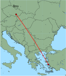Map of route from Brno to Samos