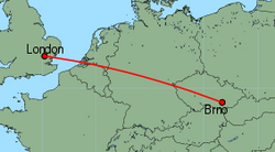 Map of route from London (Stansted) to Brno