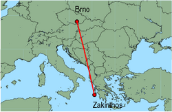 Map of route from Brno to Zakinthos