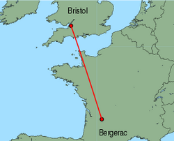Map of route from Bristol to Bergerac