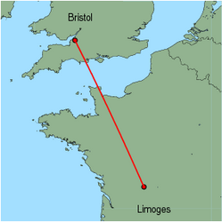 Map of route from Bristol to Limoges