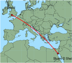 Map of route from Bristol to Sharm El Sheikh