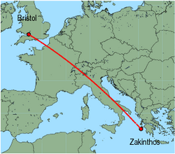 Map of route from Bristol to Zakinthos