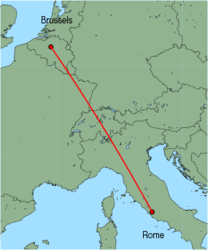 Map of route from Rome (Ciampino) to Brussels (International)