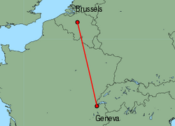 Map of route from Brussels (International) to Geneva