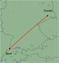 Map of route from Basel to Dresden