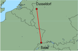 Map of route from Basel to Dusseldorf