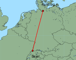 Map of route from Basel to Hamburg (Fuhlsbuettel)