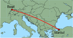 Map of route from Basel to Istanbul(Sabiha)