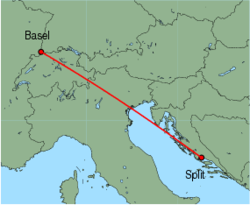 Map of route from Basel to Split