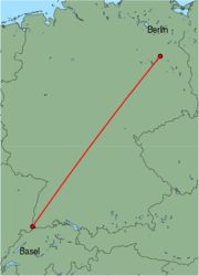Map of route from Berlin (Tegel) to Basel