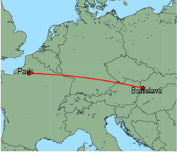 Map of route from Bratislava to Paris (Beauvais)