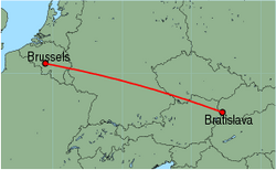 Map of route from Bratislava to Brussels (Charleroi)