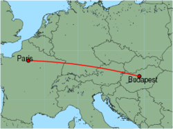 Map of route from Paris (Charles de Gaulle) to Budapest