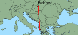Map of route from Budapest to Corfu