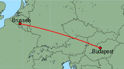 Map of route from Budapest to Brussels (Charleroi)