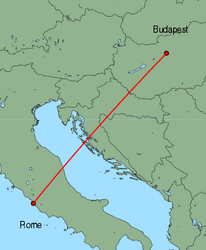 Map of route from Budapest to Rome(Fiumicino)