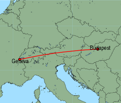 Map of route from Budapest to Geneva
