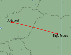 Map of route from Budapest to Tirgu Mures