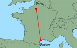 Map of route from Beziers to Paris (Beauvais)
