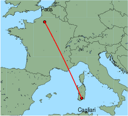 Map of route from Cagliari to Paris(Beauvais)