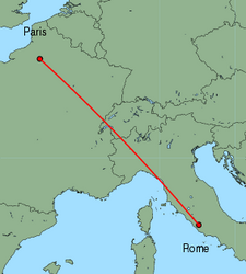 Map of route from Rome (Ciampino) to Paris (Beauvais)