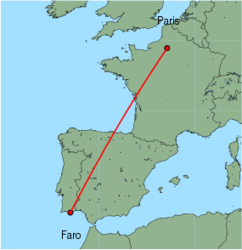 Map of route from Faro to Paris&nbsp;(Beauvais)