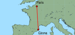 Map of route from Girona to Paris(Beauvais)