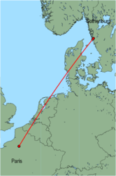 Map of route from Gothenburg (Saeve) to Paris (Beauvais)