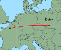 Map of route from Krakow to Paris (Beauvais)