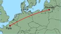 Map of route from Kaunas to Paris(Beauvais)