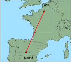 Map of route from Madrid to Paris (Beauvais)