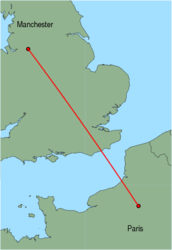Map of route from Manchester to Paris(Beauvais)