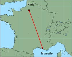 Map of route from Marseille to Paris (Beauvais)