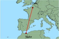 Map of route from Nador to Paris(Beauvais)