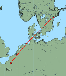 Map of route from Stockholm(Skavsta) to Paris(Beauvais)