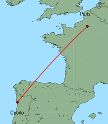 Map of route from Oporto to Paris (Beauvais)