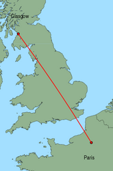 Map of route from Glasgow (Prestwick) to Paris (Beauvais)