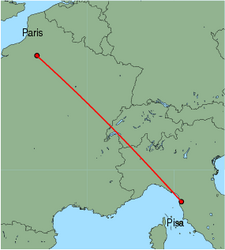 Map of route from Pisa to Paris (Beauvais)