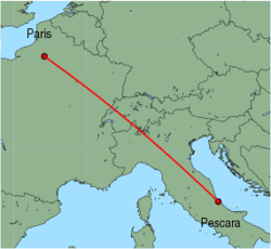 Map of route from Pescara to Paris(Beauvais)
