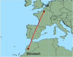 Map of route from Marrakech to Paris(Beauvais)