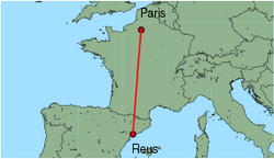 Map of route from Reus to Paris (Beauvais)
