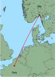 Map of route from Oslo(Rygge) to Paris(Beauvais)